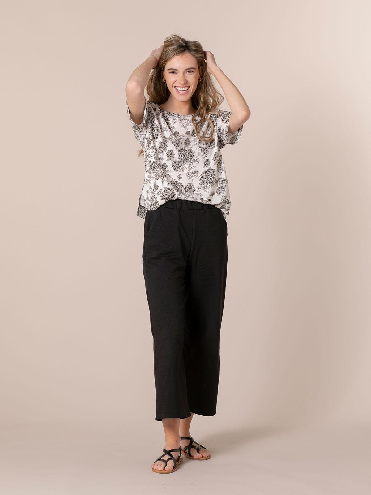 Pantalón mujer culotte algodón Negro