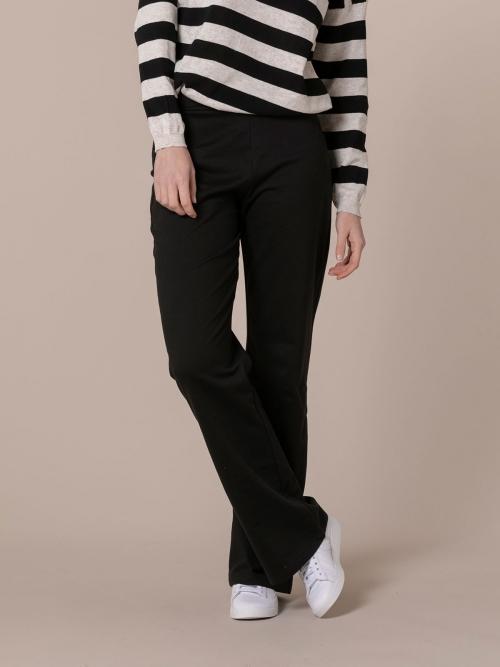 Woman Semi-flared cotton plush trousers Black