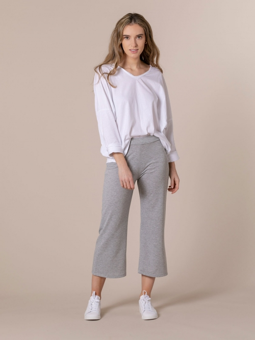 Woman Slightly flared cropped trousers Grey