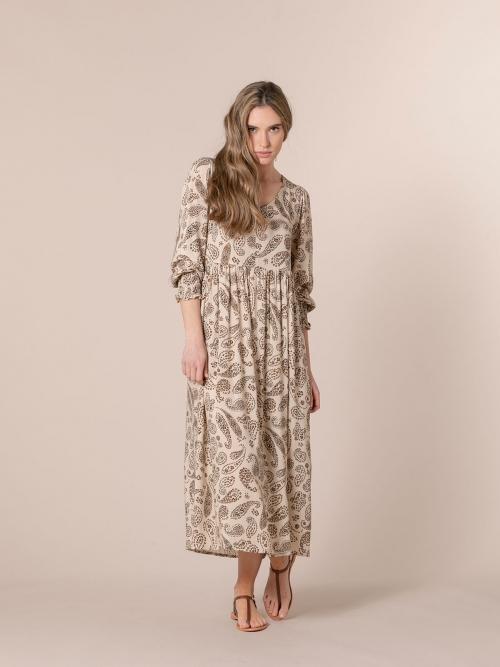 Woman Flowy floral print dress Beige