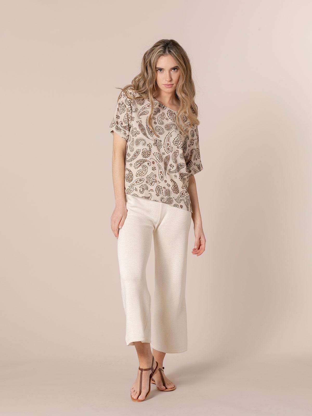 Woman Print blouse Beige