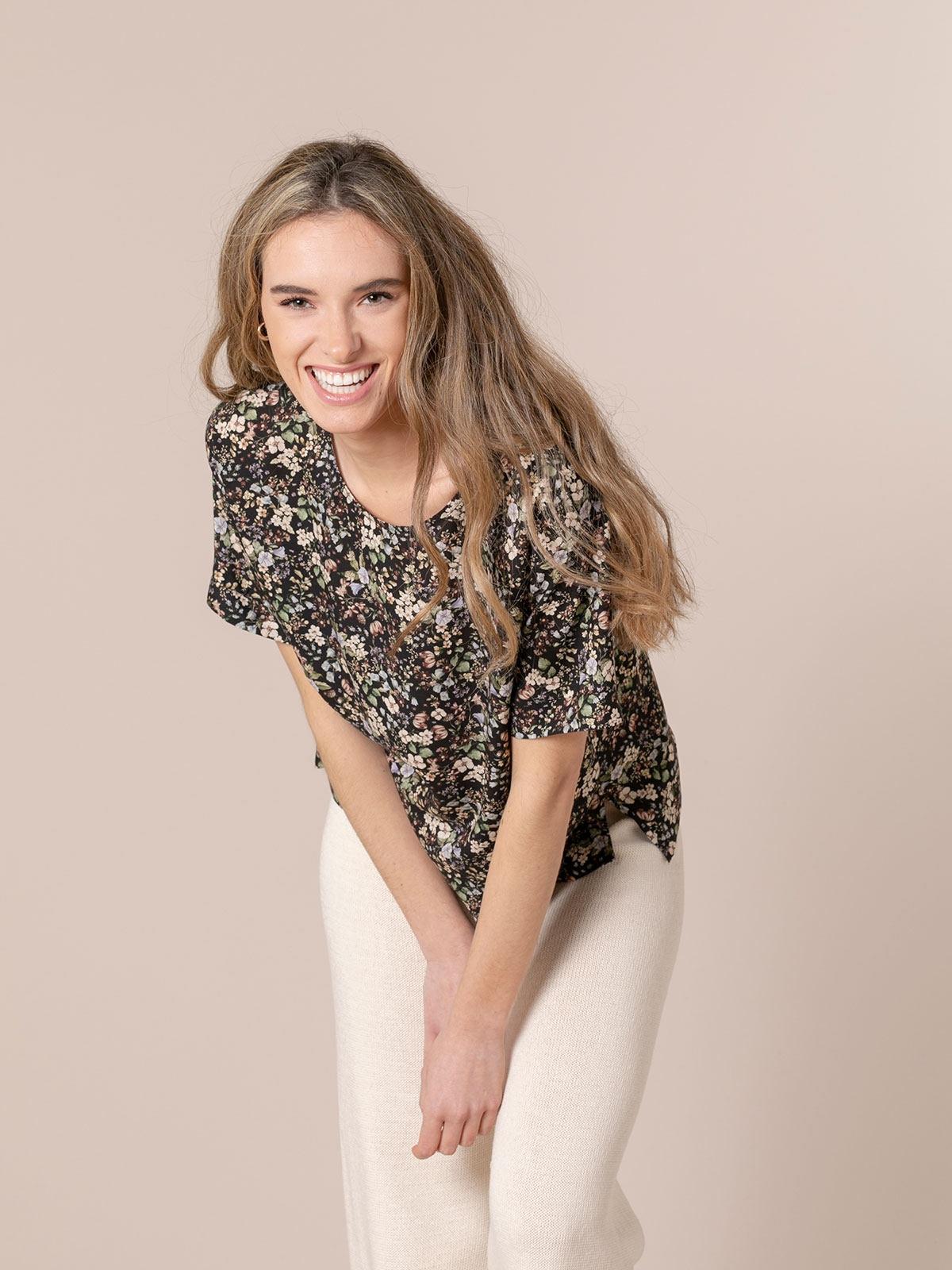 Woman Print blouse Black
