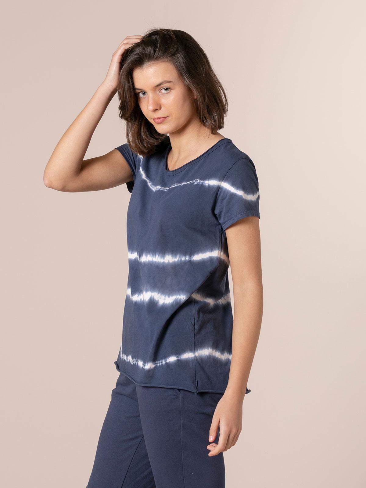 Camiseta mujer tie & dye manga corta Azul Marino