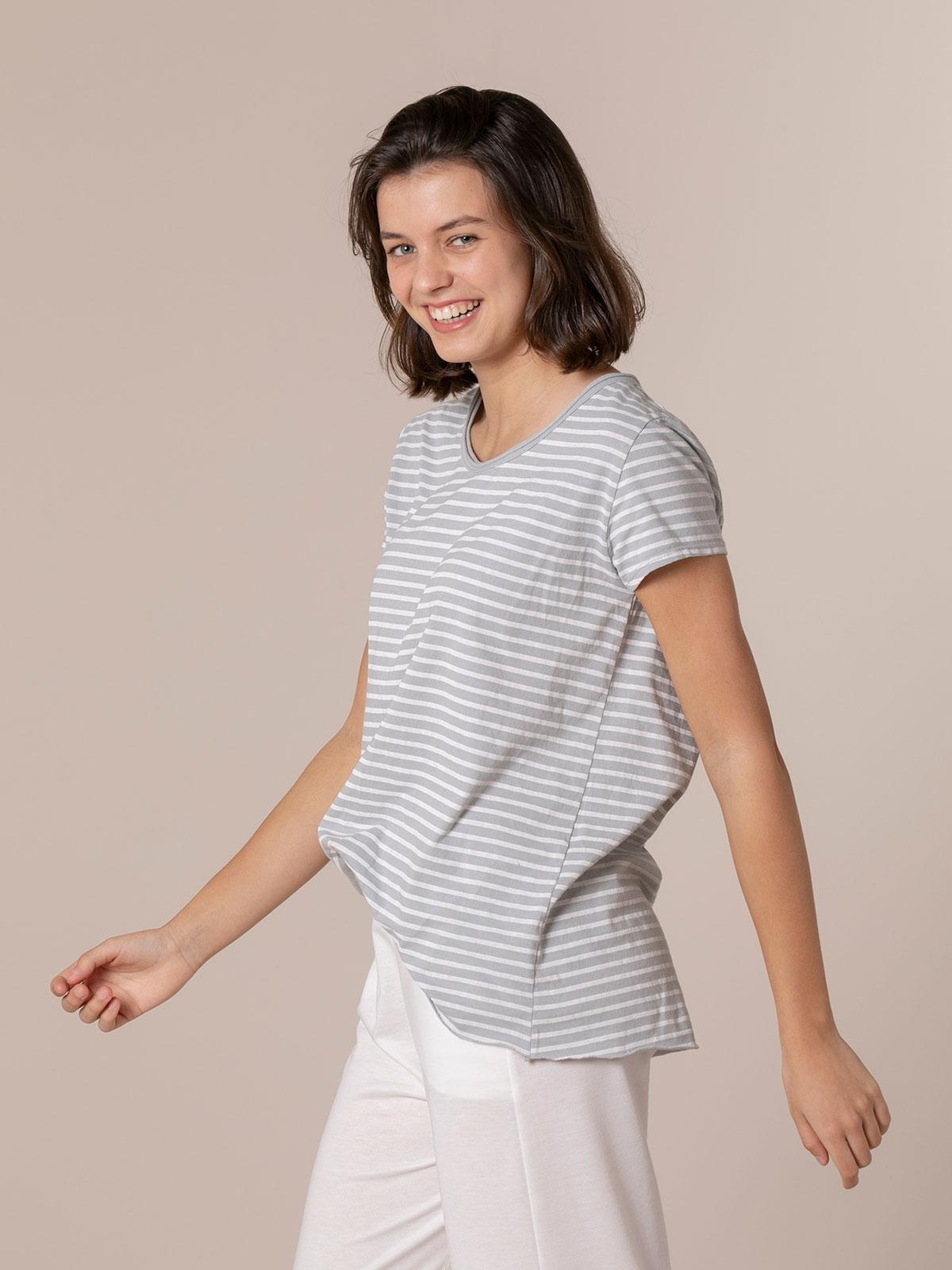 Woman Striped cotton T-shirt Grey