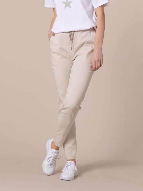 Woman Stretch cotton sport trousers Beige