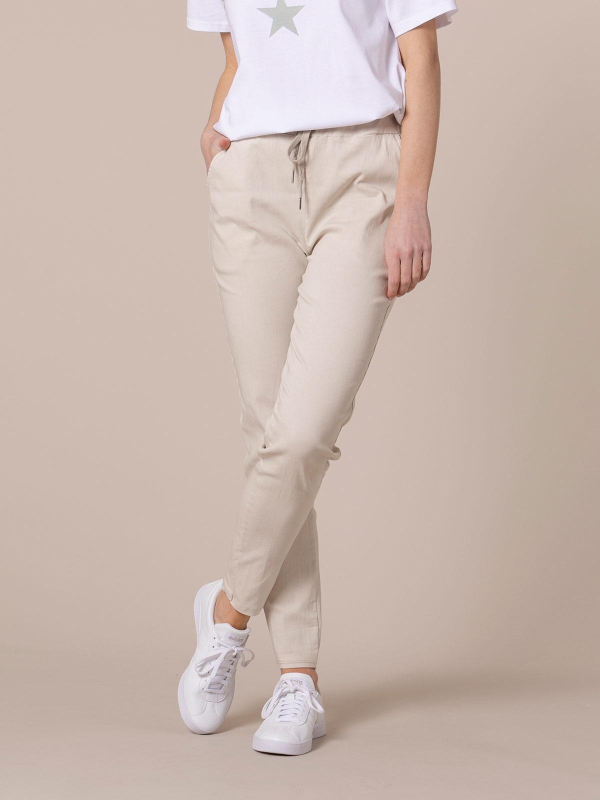 Pantalón mujer sport elástico algodón Beige