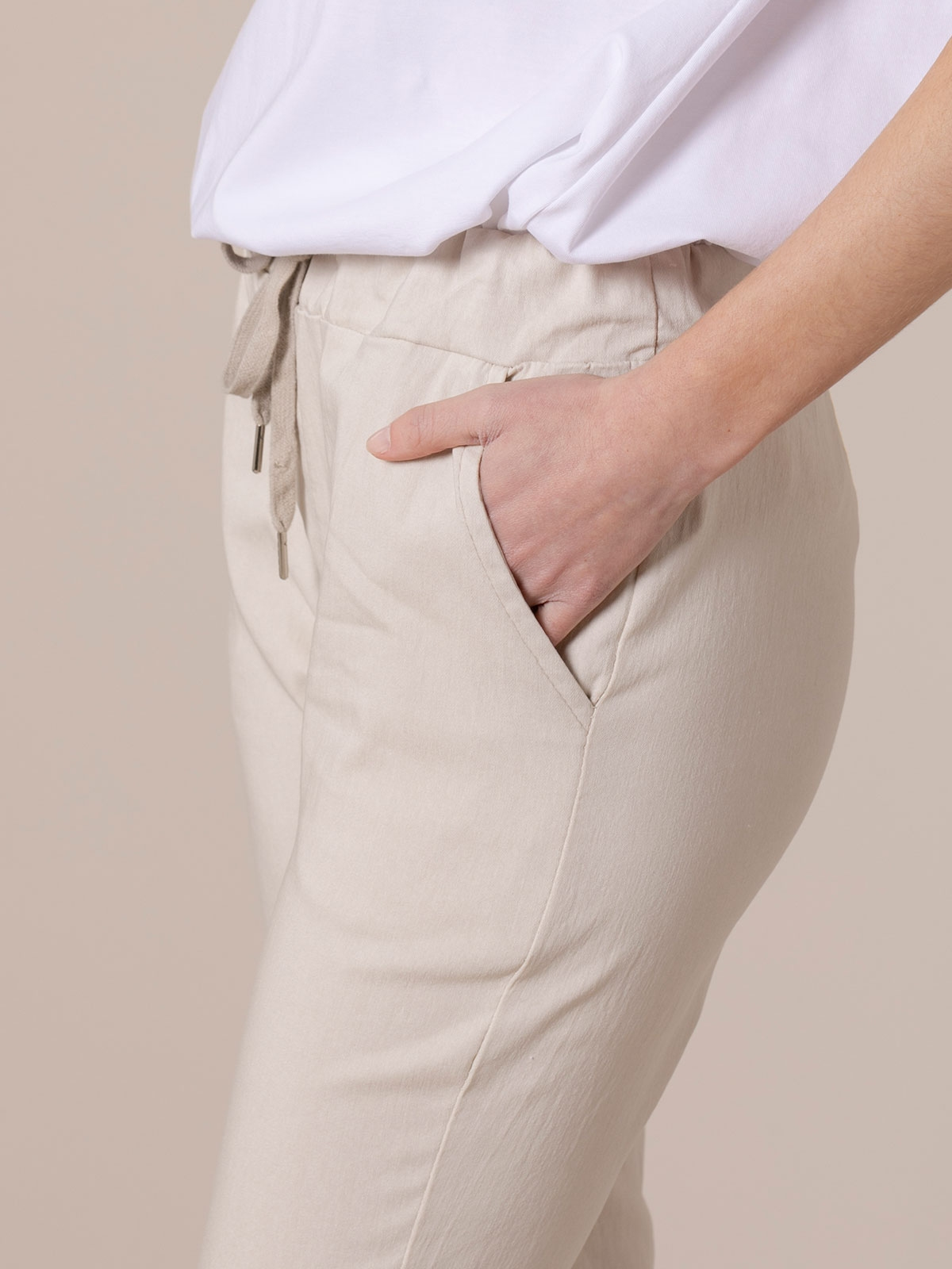 Woman Stretch cotton sport trousers Beige