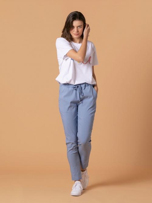 Woman Stretch cotton sport trousers Blue