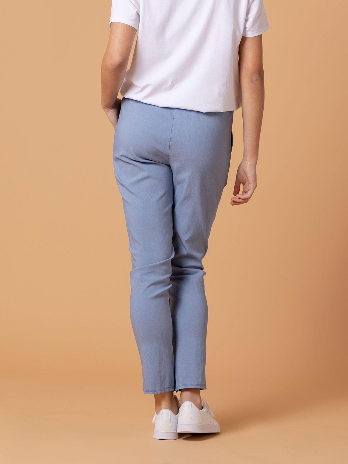 Pantalón mujer sport elástico algodón Azul
