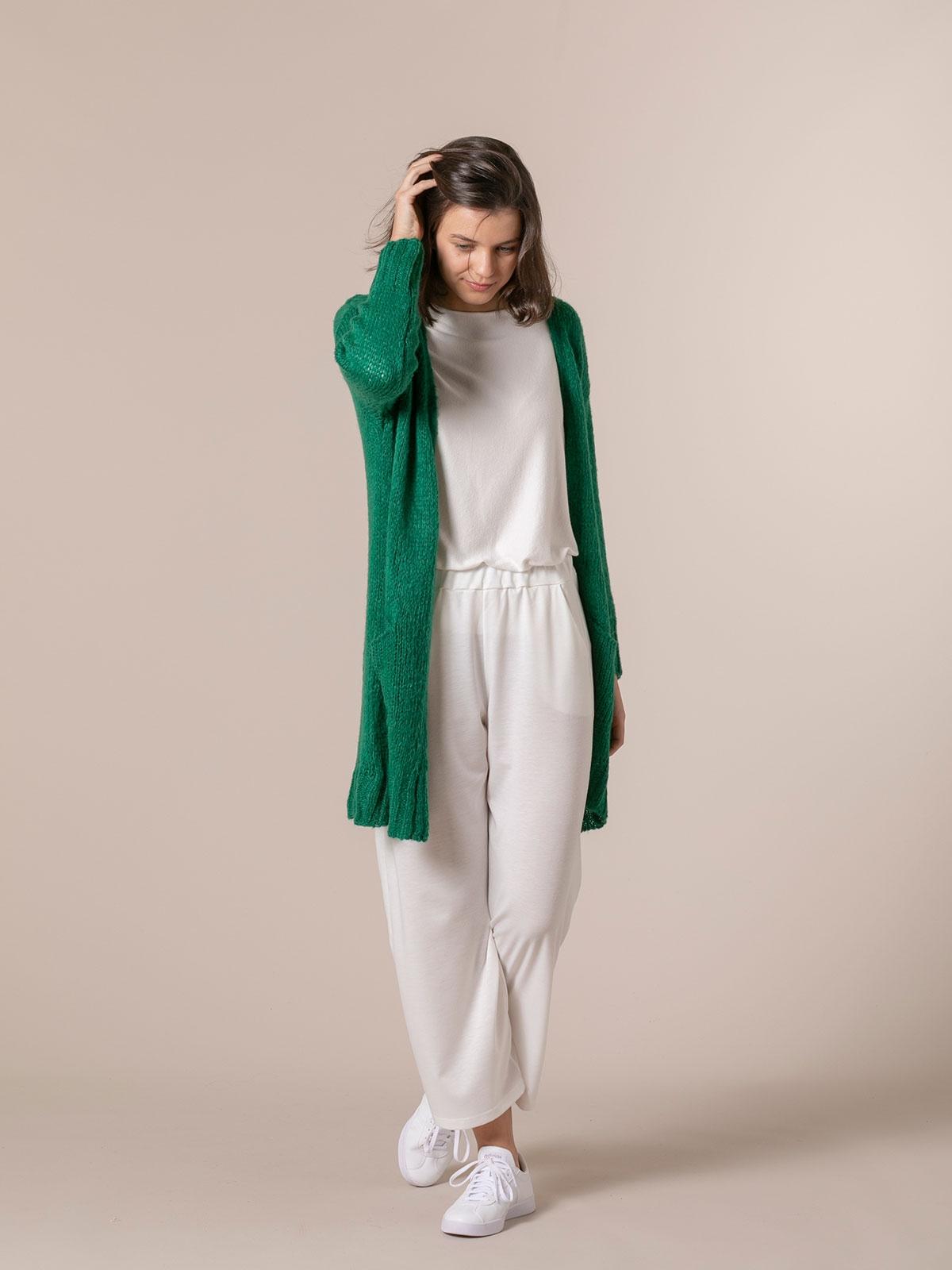 Chaqueta mujer de punto bolsillos cenefa Verde Gucci