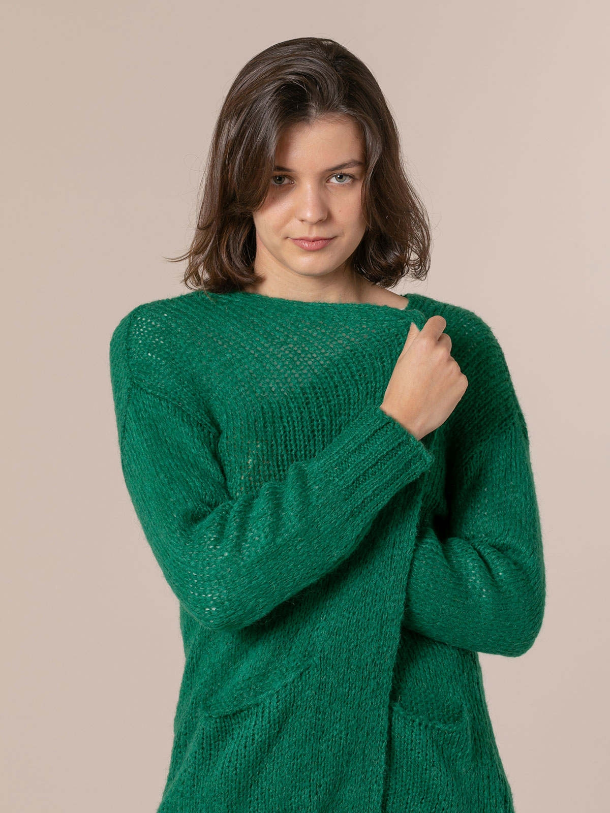 Woman Knitted jacket with valance pockets Green Gucci