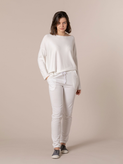 Woman Pantalón jogger detalle en bajo White