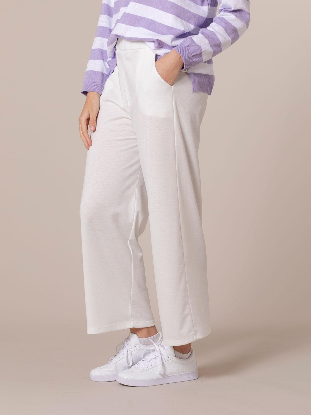 Woman Cotton culotte trousers White