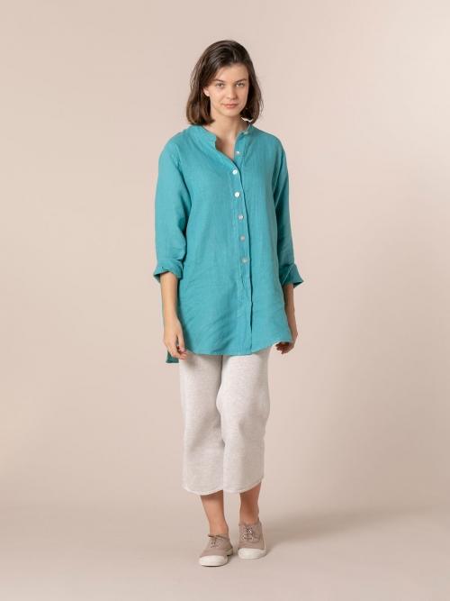 Camisa de lino mujer cuello mao Azul Claro
