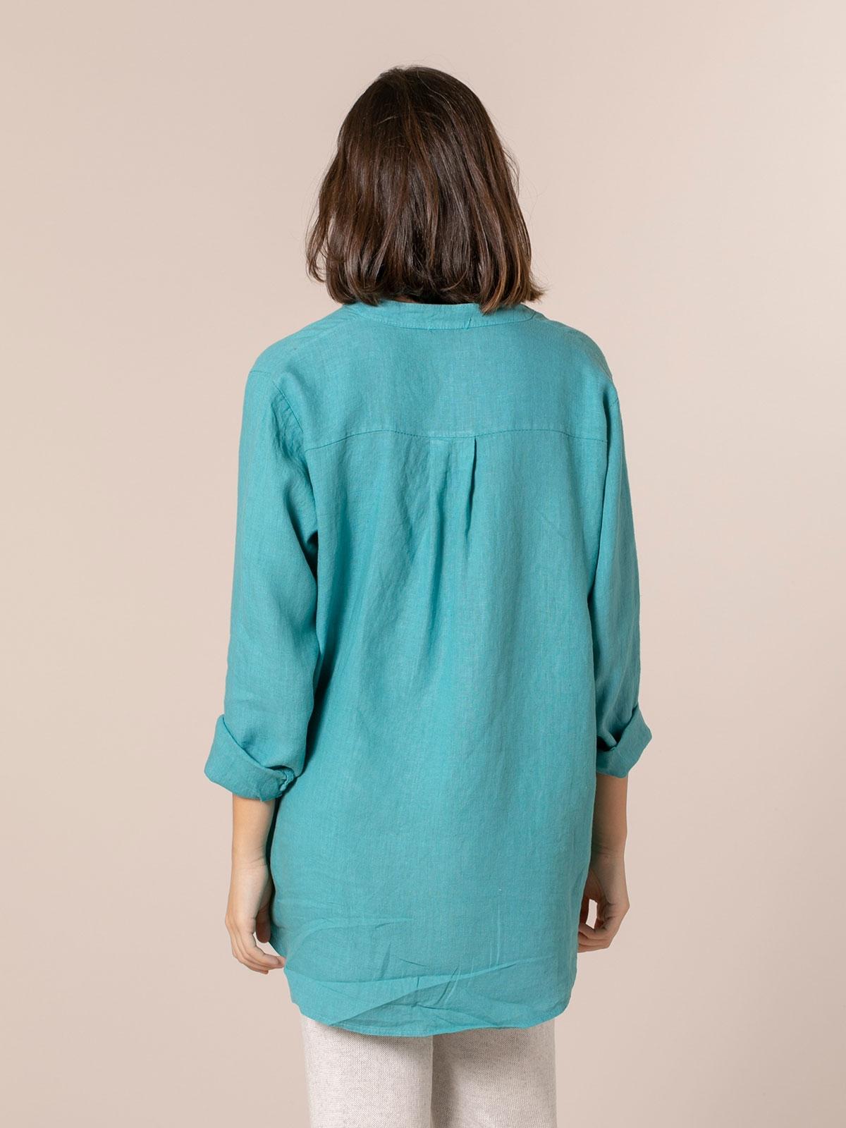 Woman Linen shirt with mandarin collar Blue Claro