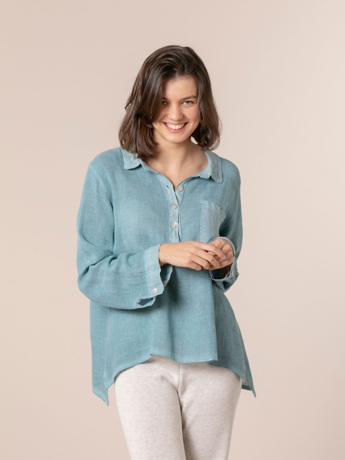 Woman Cotton polo shirt and linen detail Blue