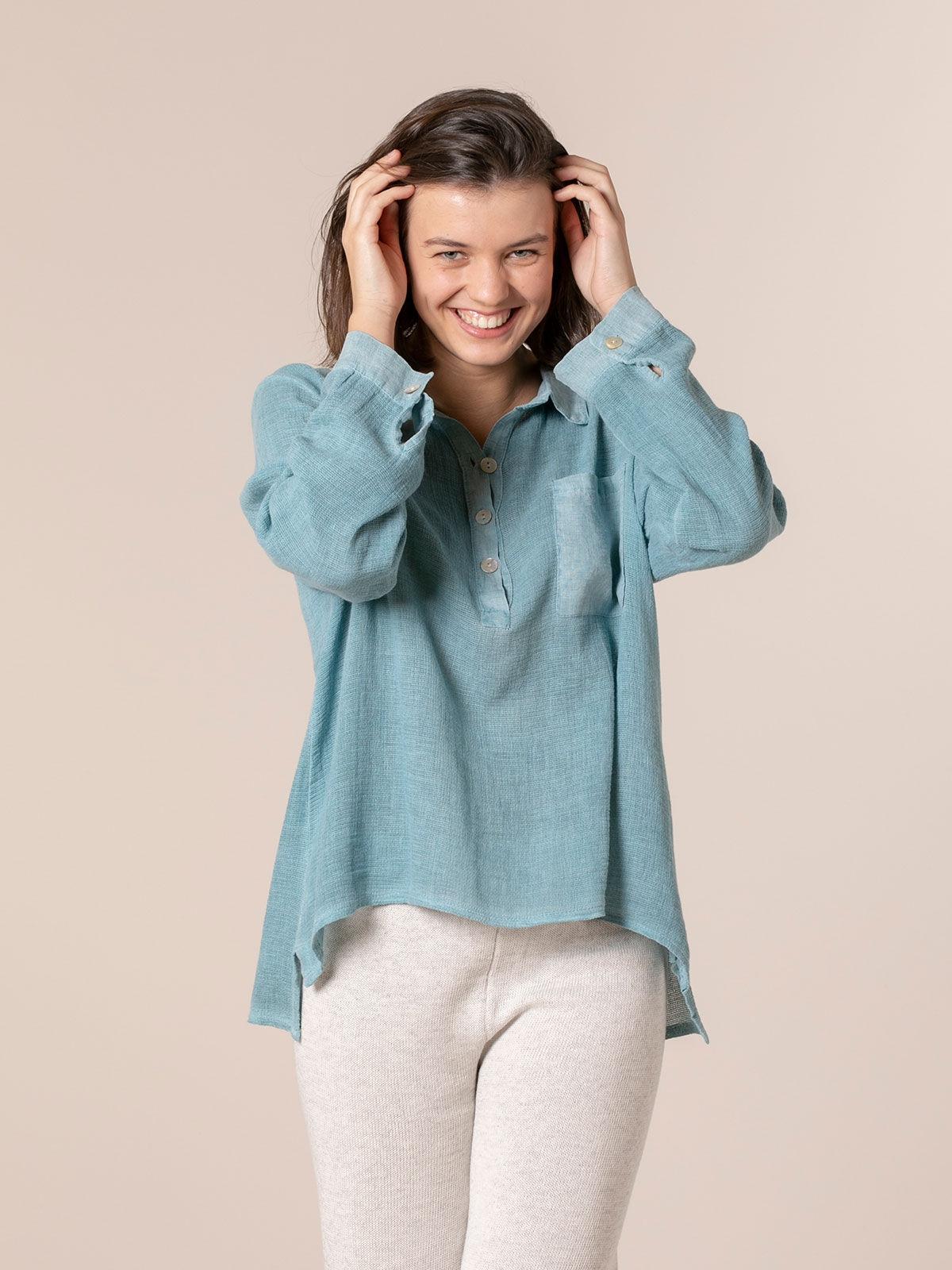 Woman Cotton polo shirt and linen detail Blue