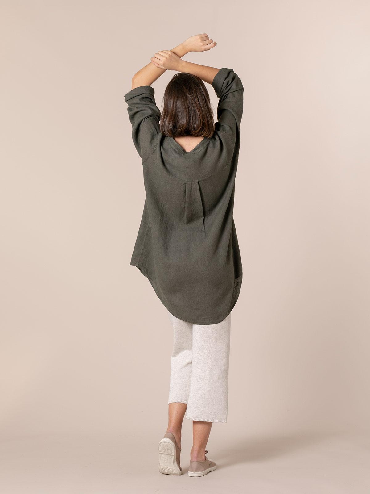 Camisa de lino mujer cuello mao Caqui