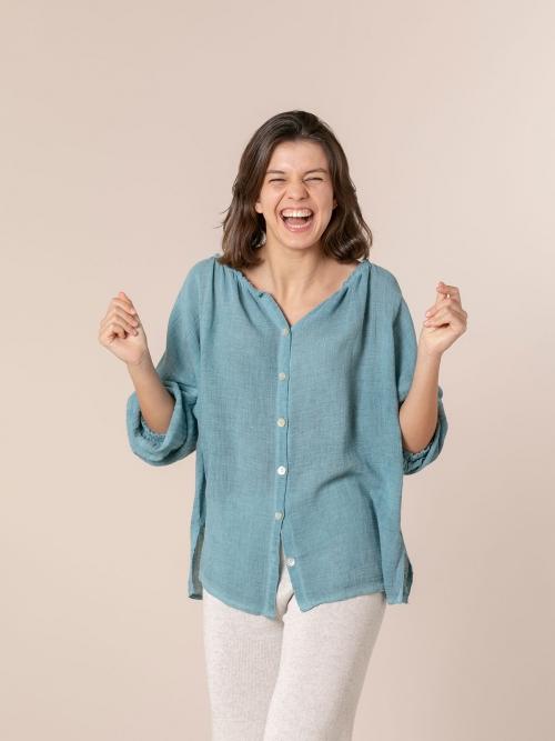 Woman Ruffled ruffle blouse azul oscuro