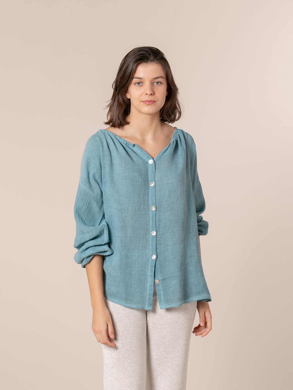 Woman Ruffled ruffle blouse azul oscuro
