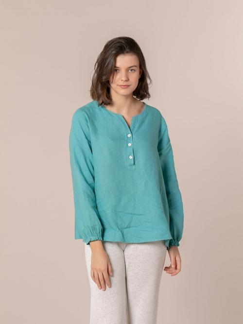Woman Buttoned linen shirt Blue Claro