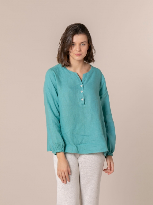 Woman Buttoned linen shirt Blue