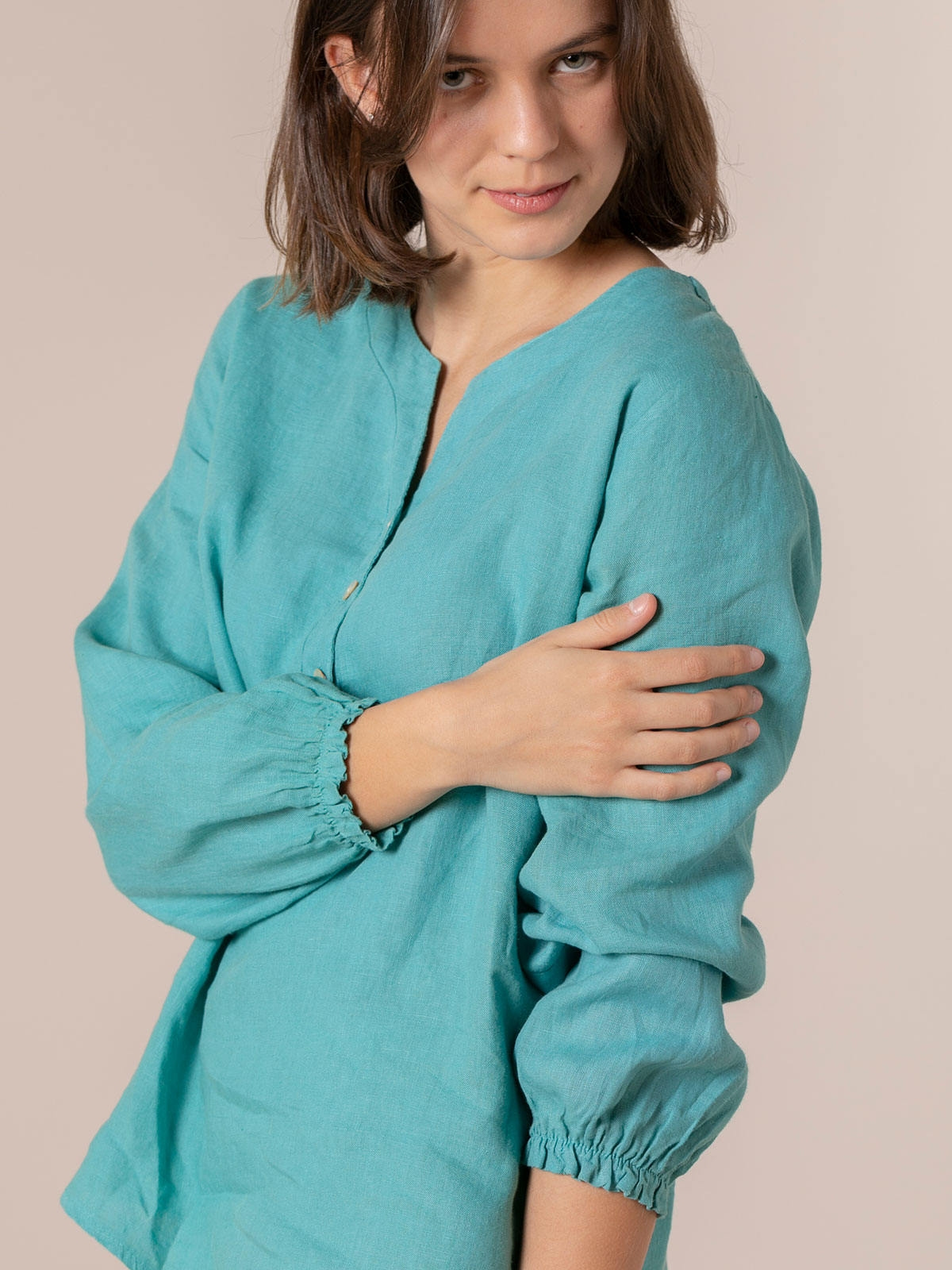Camisa de lino mujer botones Azul Claro