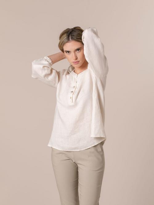Camisa de lino mujer botones Blanco
