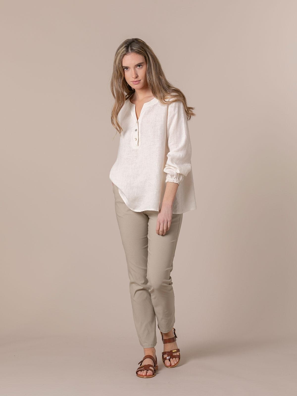 Woman Buttoned linen shirt White