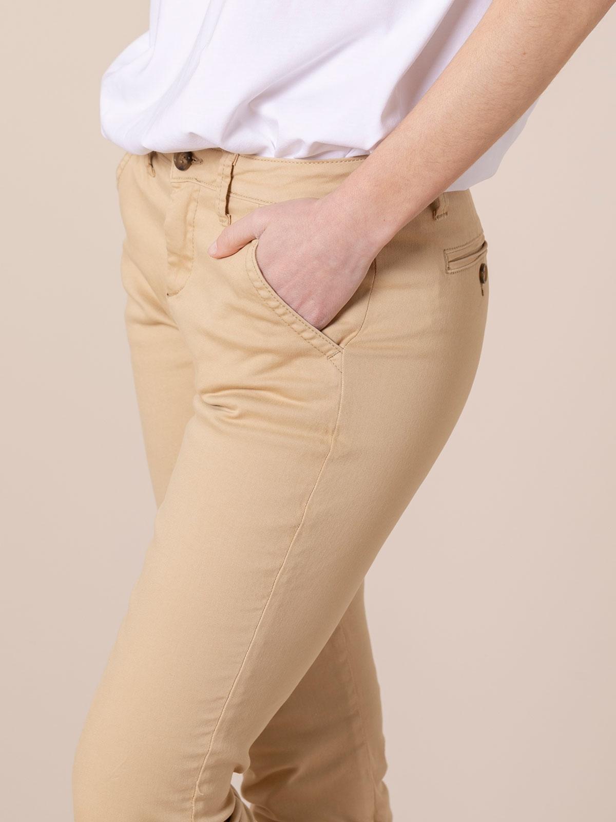 Pantalón chino mujer algodón elástico Camel