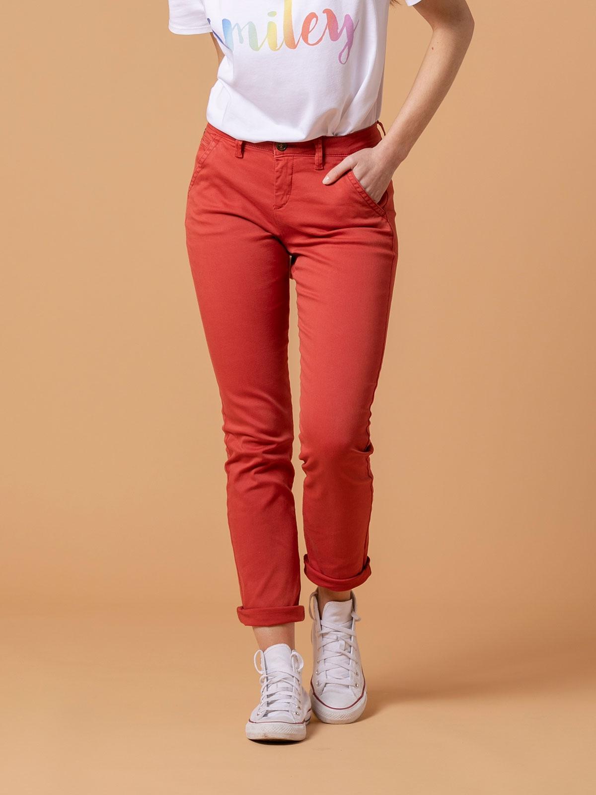 Woman Woman Elastic cotton chino pants Tile