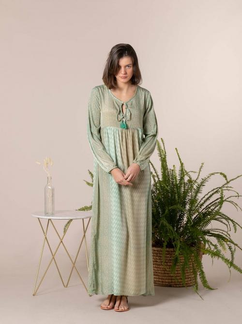 Woman Long printed dress Green