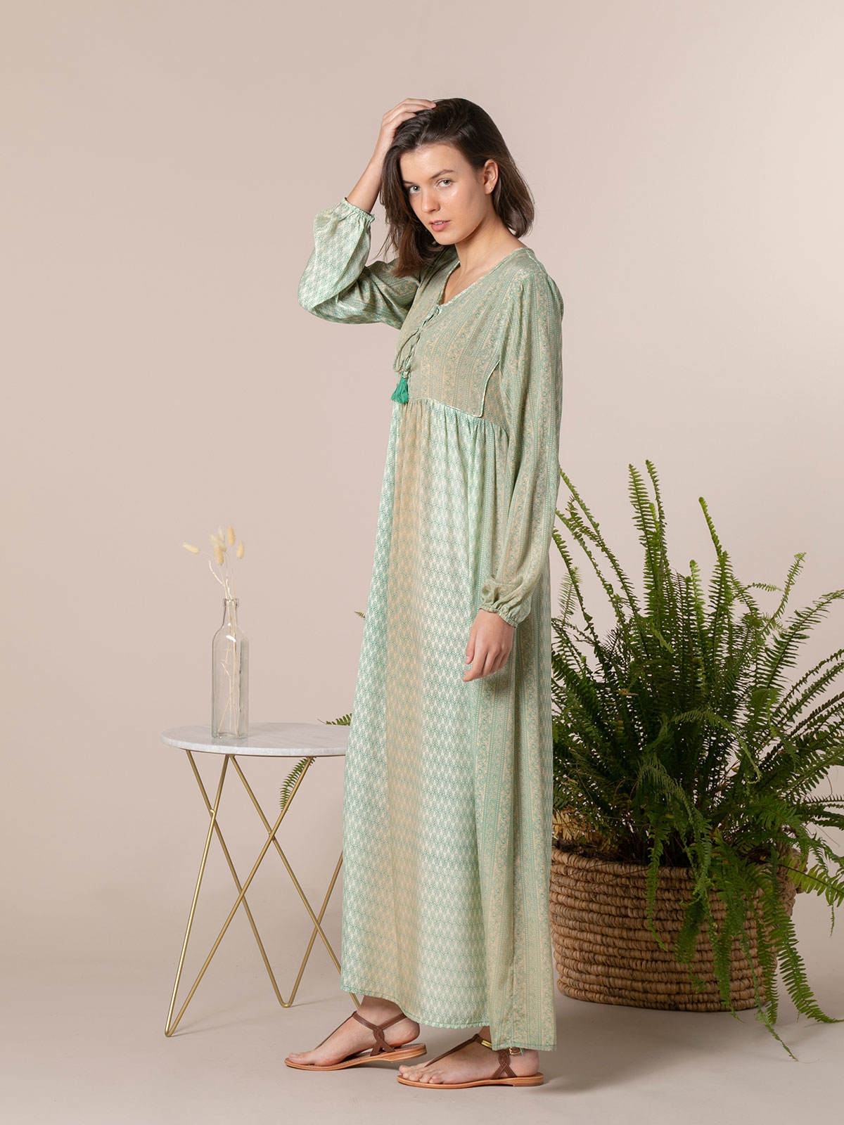 Woman Woman Long printed dress Green