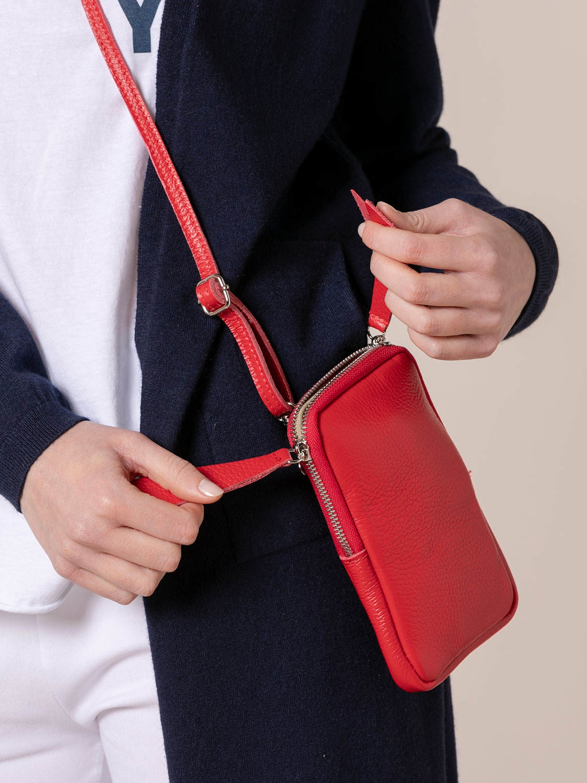 Bolso piel mujer walk Rojo