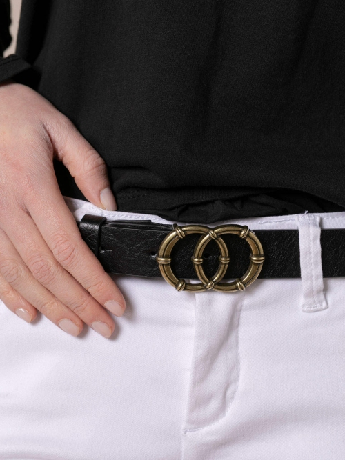 Woman Inside leather belt and buckle detail Black