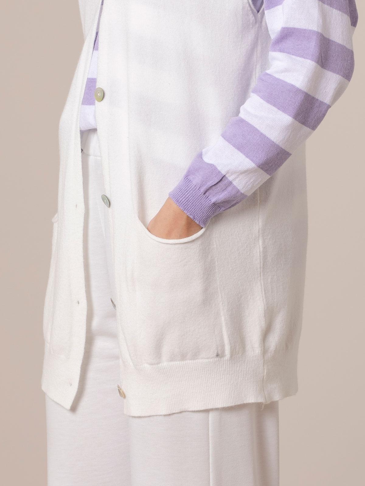 Chaleco mujer punto largo botones y bolsillos Crudo