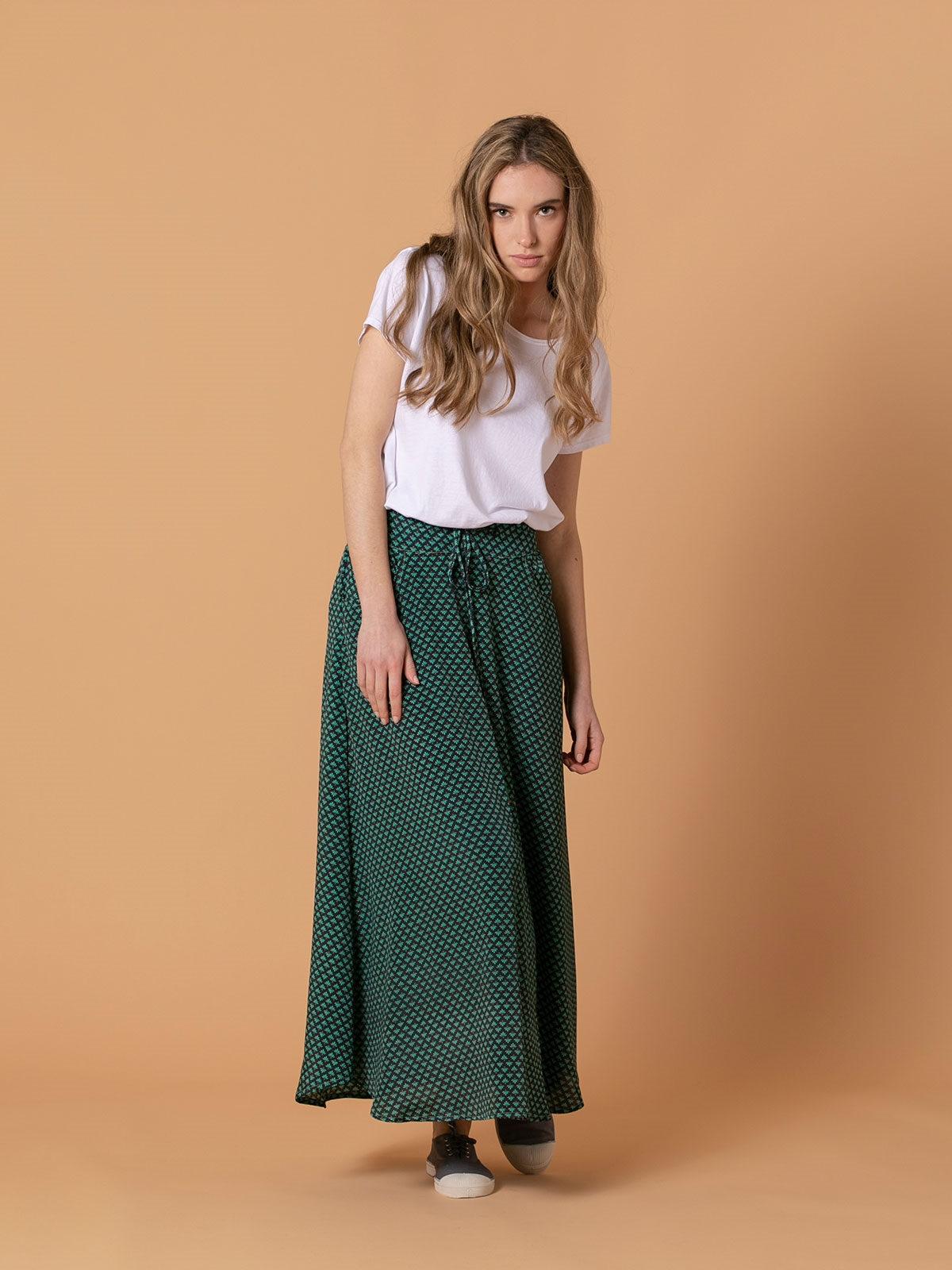 Woman Woman Flowy printed skirt Grey/azul