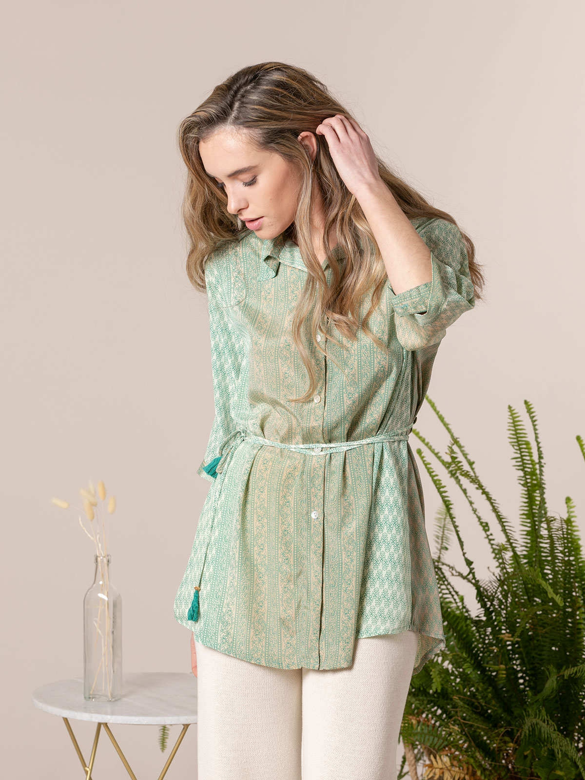Camisa mujer fluida estampada botones Verdes