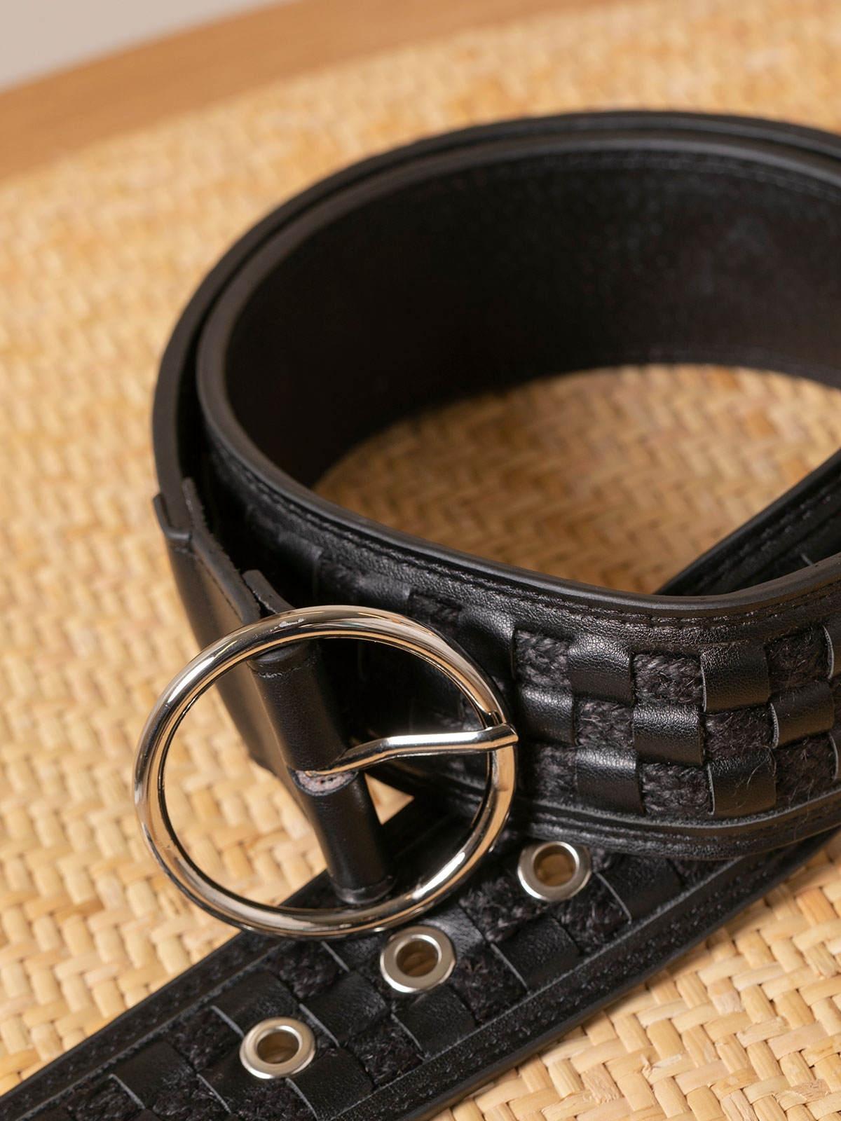 Cinturón mujer hebilla metálica Negro