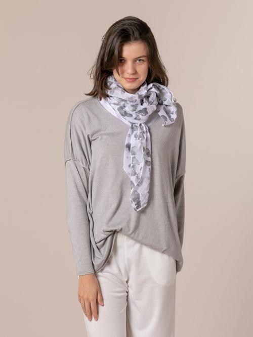 Fular mujer algodón estampado animal Gris