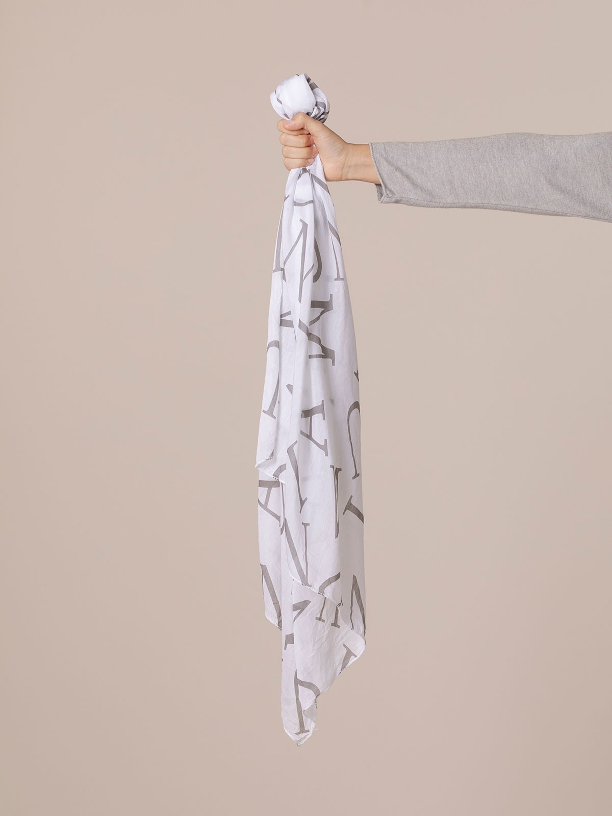 Woman Letters print scarf White