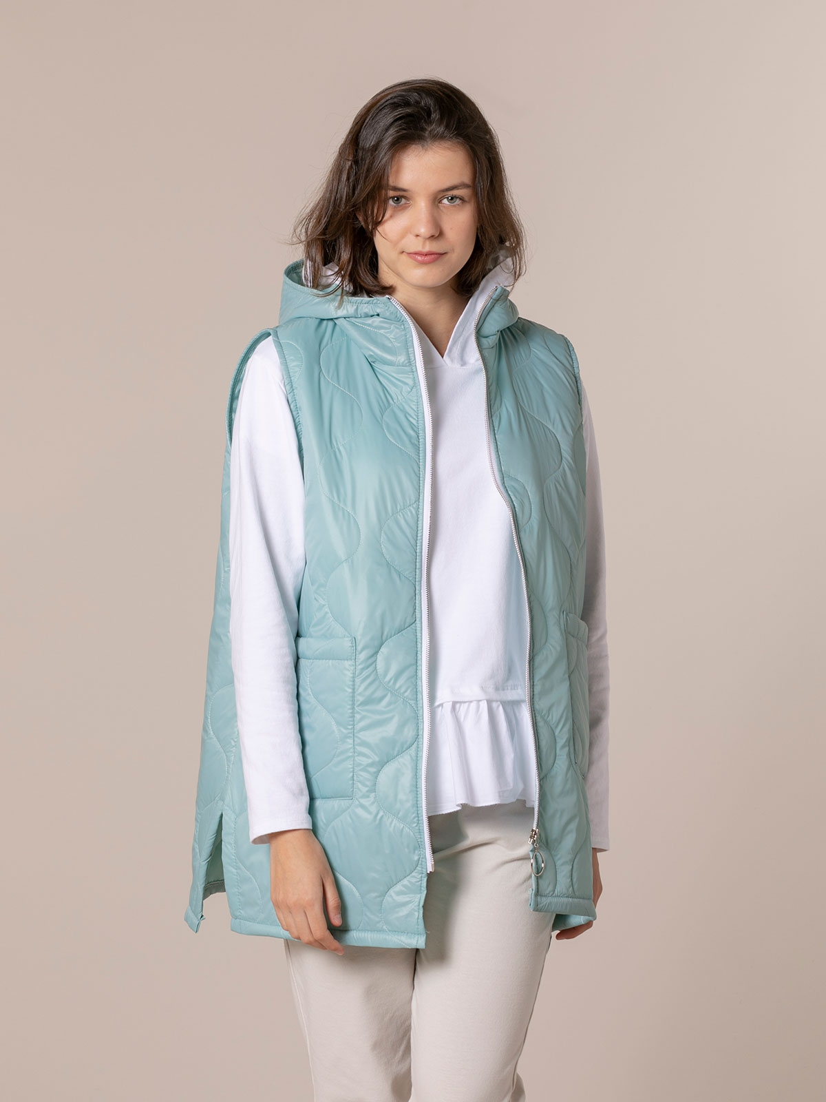 Woman Long padded gilet Aqua