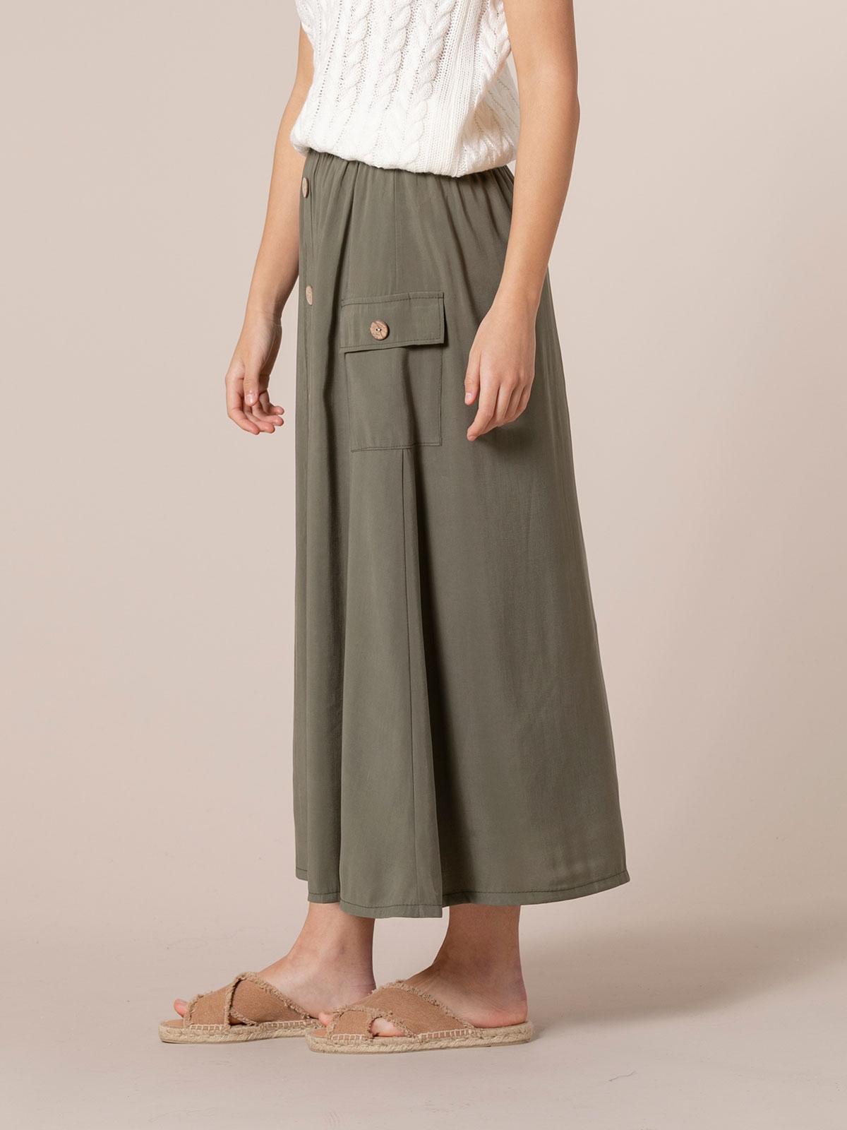 Falda larga mujer fluida botones Caqui