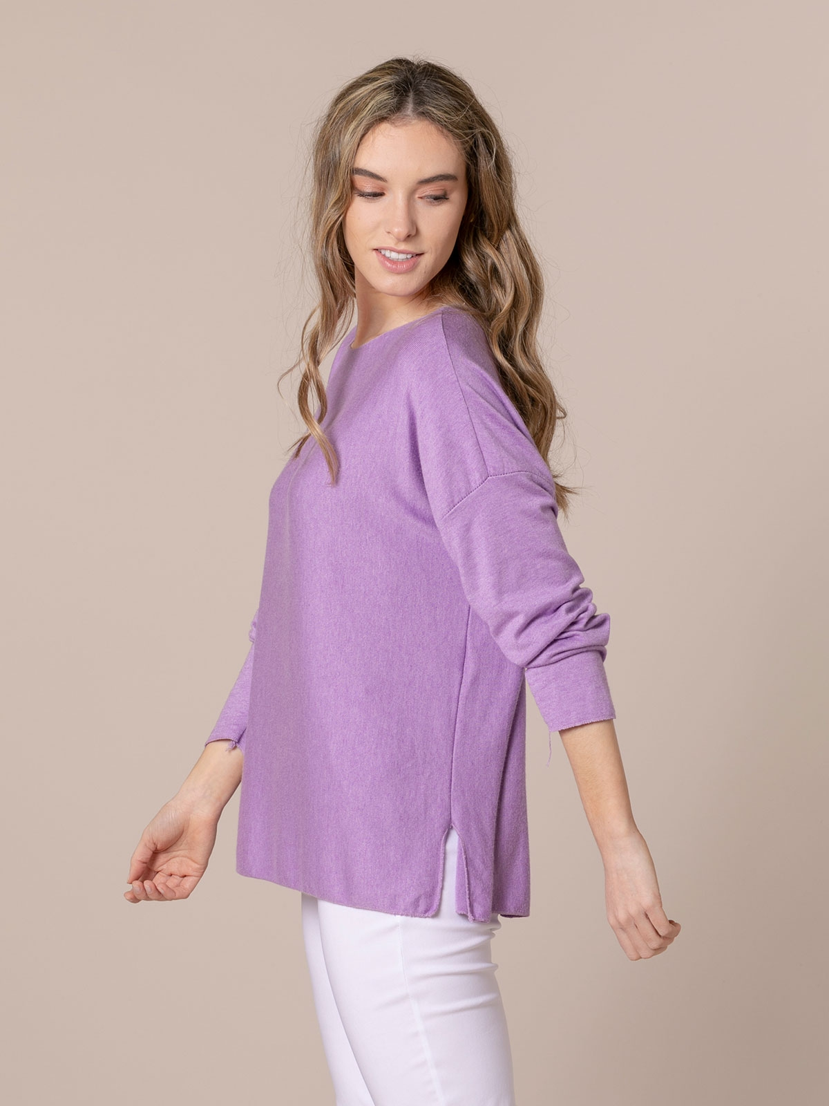 Camiseta mujer punto fino Lila