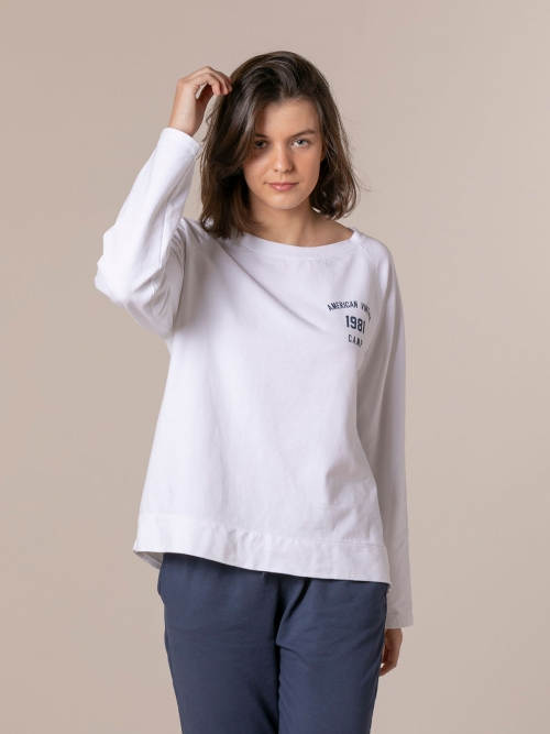 Woman 1981 vintage plain sweatshirt White