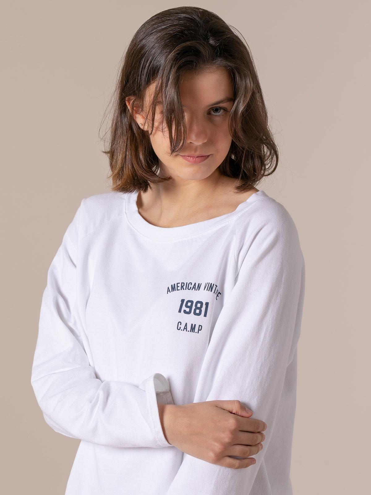 Sudadera mujer lisa vintage 1981 Blanco