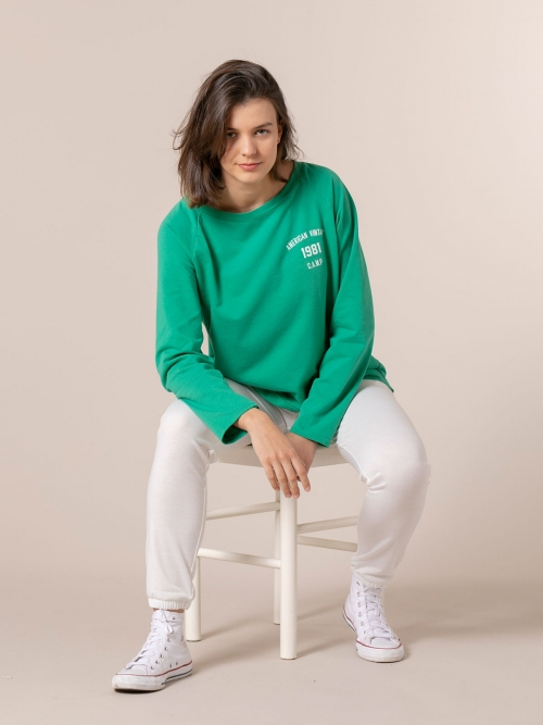 Woman 1981 vintage plain sweatshirt Green