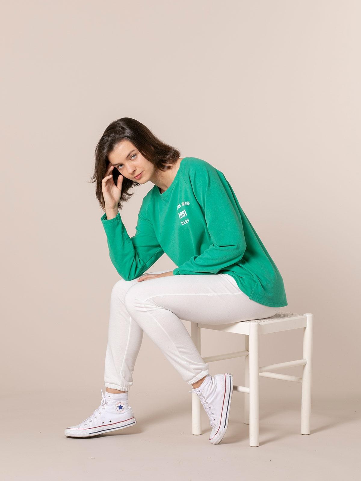 Sudadera mujer lisa vintage 1981 Verde