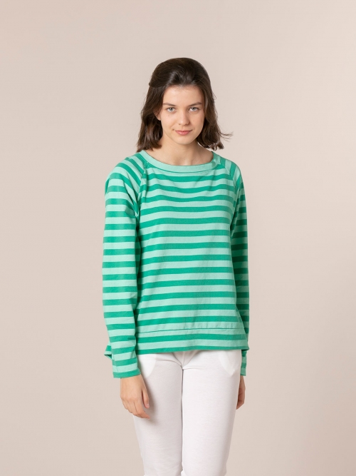 Woman Striped boat neck sweatshirt Green