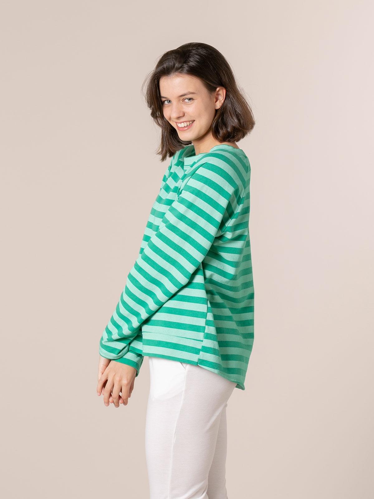 Woman Striped boat neck sweatshirt Green